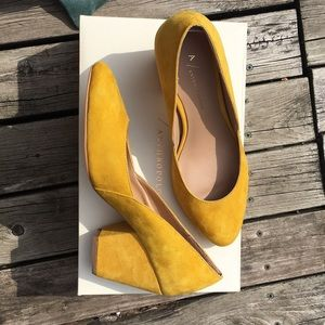 Yellow Suede Anthropologie Dorsay Pump, size US 8